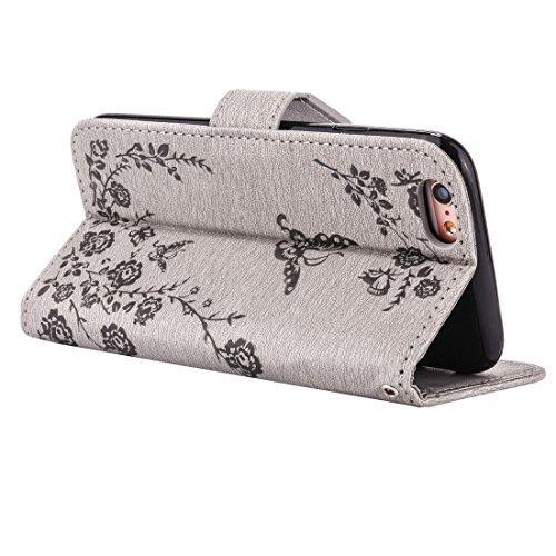 Apple iPhone 66S case, Ledowp Bling farfalla in rilievo diamante set Premium pelle PU Flip Cover custodia con chiusura magnetica porta carte di credito per iPhone 66S 11,9cm marrone Light Brown Light Grey