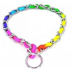 JWPCEU Regenbogenfarbene Edelstahl P Metallkette zum Training für den Hund, Haustier-Halsbänder, Halskette, für Spazierengehen / Training, Haustier-Produkte für kleine, mittelgroße Hunde