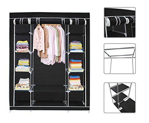 Todeco - armadio, guardaroba - peso: 3 kg - tipo di chiusura: parti in velcro e zip - 3 porte, 172 x 134 x 43 cm, nero