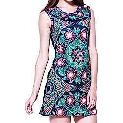 Panasiam, vestido, túnica colorida 100% de algodón auténtico en S, M, L y XL, edición limitada –2016(producto de boutique) schwarz mit grünem Muster M