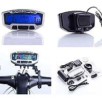 SODIAL(R) Bici Cuentakilometro de pantalla LCD digital impermeable de bicicletas Velocimetro Backlight 28 Funciones
