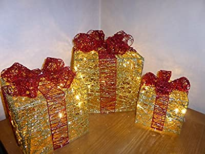 SALE - Light Up Glitter Gold and Red Christmas Parcel Lights Set With LED Lights Indoor Outdoor Decoration - Battery Operated