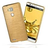 moex Huawei Mate 7 | Hülle Silikon Gold Brushed Back-Cover TPU Schutzhülle Ultra-Slim Handyhülle für Huawei Ascend Mate 7 Case Dünn Silikonhülle Rückseite Tasche