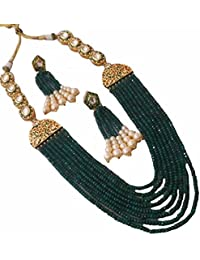 Designer Bollywood Inspired Kundan Green Pearl Long Necklace Set For Women Jewellery