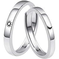 FuYouTa, coppia di anelli con sole e luna, regolabile, 2 pezzi, anello regolabile per coppia di anelli di fidanzamento e…