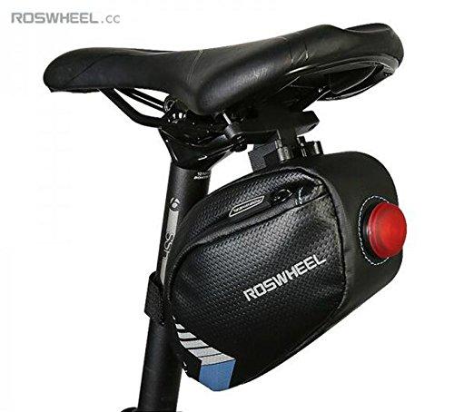 Roswheel Impermeable Bolsa para sillín de Bicicleta Asiento Paquete con  Construido en Rojo Brillante luz LED 05a8530f9b7