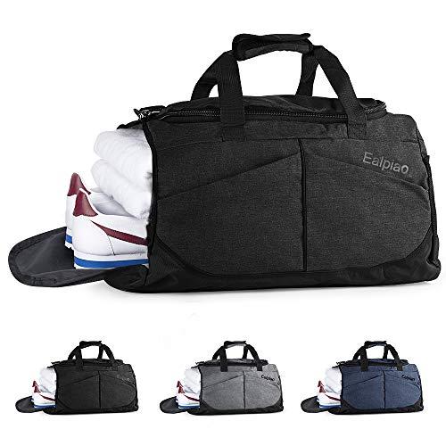 Weiao Sac de Sport Fitness Sac avec Compartiment à Chaussures Sacs de Voyage Imperméables de Grande Capacité Sac Multiuse Sac à Dos, Sac à Bandoulière et à Main (Noir)