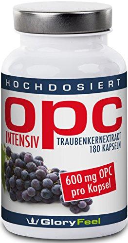 Der OPC Traubenkernextrakt VERGLEICHSSIEGER 2017* - 600mg Reines OPC Hochdosiert (95% OPC-Gehalt) pro Veganer Kapsel - 180 Kapseln - Nahrungsergänzung von GloryFeel
