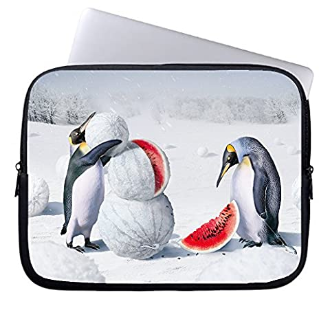 Okoukiu 13- Inch Penguins Are Making Snowman With Watermelon Zipper Neoprene Laptop Sleeve Briefcase Handbag Sleeve Case Bag For All 13