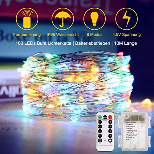 Trylight 10m 100 LED Luci Filo di Rame, Batteria, Telecomando a 8 ModalitÀ, Luci Decorative Impermeabili per Festival Stagionali LED IP44 (Bianco Caldo) (100 luci stringa multicolore)
