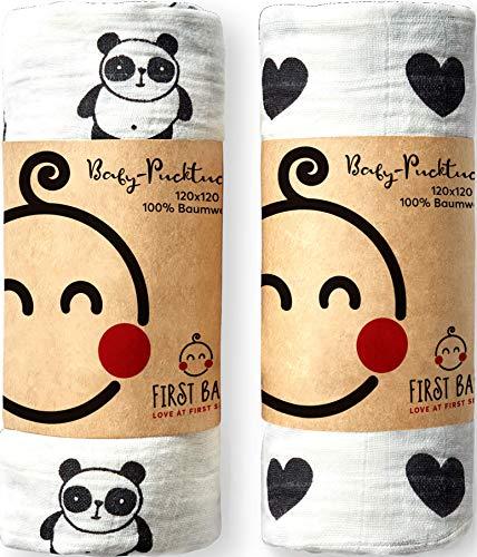 First Baby, Pucktuch-Set, 120 x 120 cm groß, 100% Baumwolle, Panda-Herz