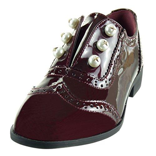 Angkorly - damen Schuhe Derby-Schuh - Slip-On - Perle - Perforiert - Patent Blockabsatz 2.5 CM Burgunderrot