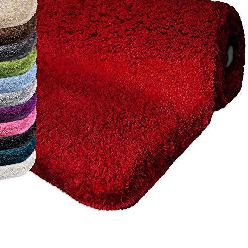 Badematte | Kuscheliger Hochflor | Rutschfester Badvorleger | viele Größen | zum Set kombinierbar | Öko-Tex 100 Zertifiziert | rund Durchmesser 95 cm | Berry Red (Rot)