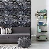 Stickers adhésifs carrelages parement de pierres volcaniques | Stickers muraux matériaux  40 x 40 cm - 1 pièces