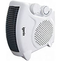 Igenix IG9010 Flat/Upright Portable Electric Fan Heater with 2 Heat Settings and Cool Air Setting, Ideal for Small Rooms, Caravans and Garages, 2000 W, White