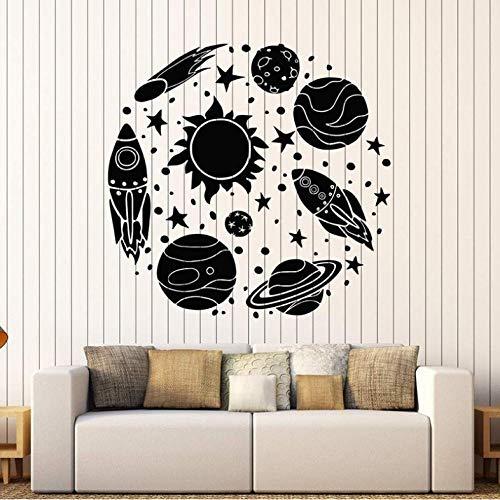 UHUBBG Wandaufkleber Dekor 42X44 cm Vinyl Wandtattoo Rakete Astronaut Cartoon Sun Space Planeten Aufkleber Für Kinderzimmer Abnehmbare Nusery Decor
