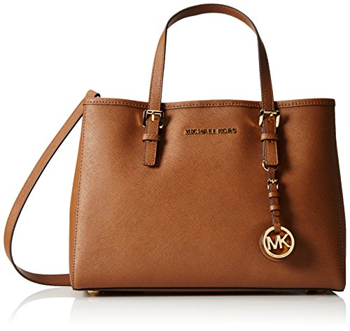 Michael Kors Jet Set Travel Saffiano, Borsa Tote Donna, Marrone (Luggage), 12x22x31 cm (W x H x L)