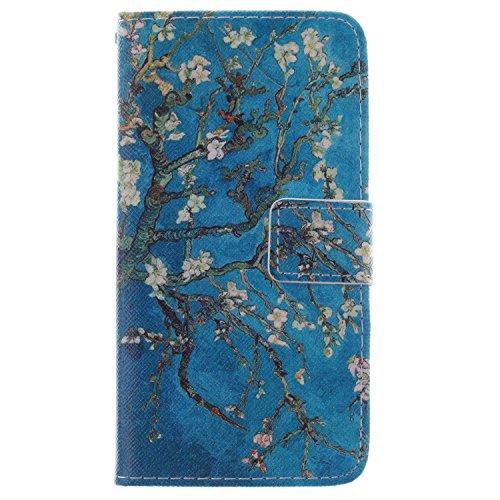 ISAKEN Nokia Lumia 930 Custodia,Portafoglio Caso Cover in PU Cuoio Protettiva, Pelle PU Flip Wallet Case Cover Pocket copertina con funzione di supporto e chiusura magnetica Custodia (Albero in fiore albicocca)