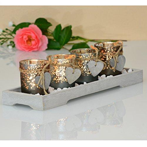 Teelichthalter-Set Holz Tablett Tischdekoration Landhaus Windlicht Weihnachtsdekoration innen