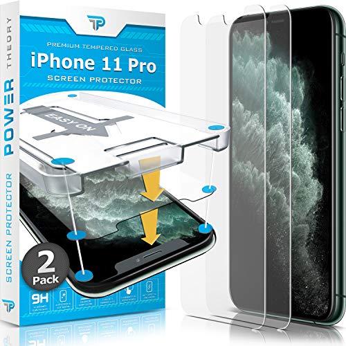 Power Theory Panzerglas kompatibel mit iPhone 11 Pro [2 Stück] - Schutzfolie mit Schablon