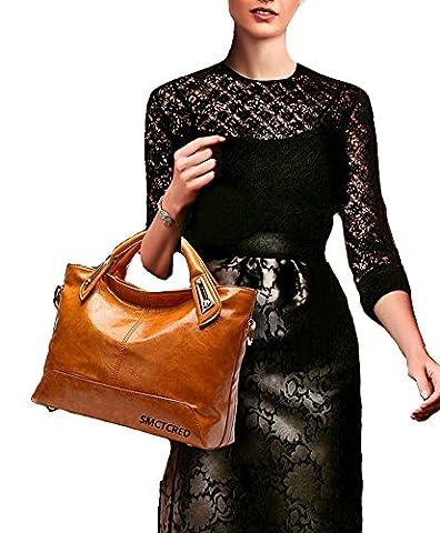 Vintage fashion Genuine ncient ways oil wax leather Soft Leather Tote Shoulder Bag Leather Satchel Briefcase Handbag Hand Bag Bags Purse Tablet, iPad Bag (Wine