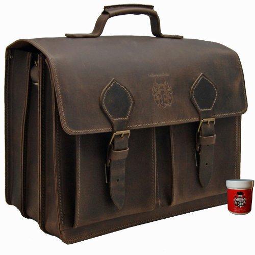 Preisvergleich Produktbild FREIHERR von MALTZAHN Extra große Aktentasche Laptoptasche EINSTEIN 1 aus BIO-Leder, Made in Germany, inkl. Lederpflege
