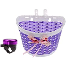 Sharplace Set Cesto Bici Bambine Decorazione Di Inchino Fissaggio Cinghia Campanello Ring Bicicletta Viola