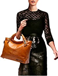 Vintage Fashion en cuir ncient façons Huile Cire Véritable Sac en cuir souple sac à bandoulière sac en cuir Sacoche Sac à main Sac à main Sac à main Sacs Sac, tablette, iPad (Orange)