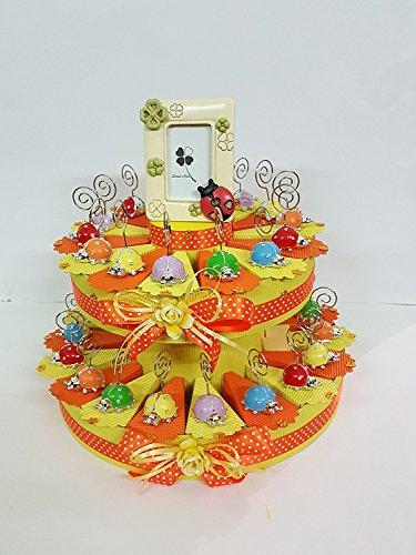 Torta bomboniere coccinelle portamessaggio colorate assortite battesimo comunione cresima promessa nascita compleanno completa di biglietti (32 fette (2 piani))