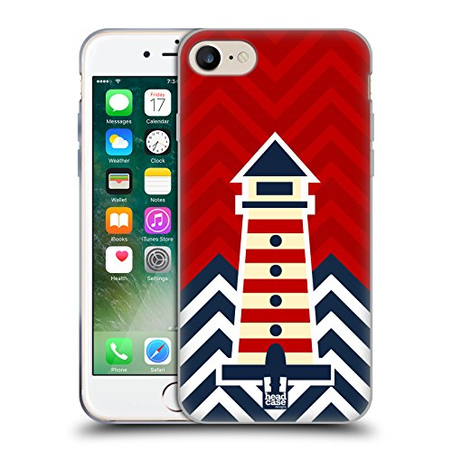 Head Case Designs Faro Chevron Nautiche Cover Morbida In Gel Per Apple iPhone 7 Plus / 8 Plus Faro