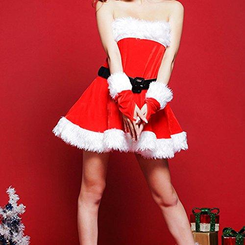 Weihnachtskostüm Damen Weihnachten Kleid Miss Santa Cosplay Bekleidung Nikolaus Sexy Süß Karneval (Santa Kleider Sexy)