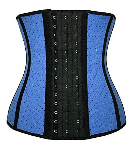 YIANNA Damen Unterbrust Korsett Mieder Bauch Weg Unterbrustcorsage mit Latex Atmungsaktiv Loch Taillen Trainer Corset Blau Korsage,UK-YA10533-Blue-L (Blau Trainer)
