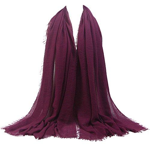 KPILP Premium Viskose Maxi Crinkle Cloud Hijab Schal Pashminas Soft Islam Muslim Kopftücher Umhang,Violett 15#