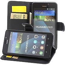 ECENCE Huawei Y635 Cartera Funda Cover Flip Wallet Case bolsa Negro + de Vidrio Templado 41010205