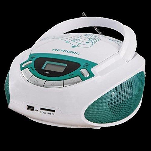 Metronic 477143 Music - Portable CD radio with USB socket, SD / MMC to play MP3 files, white / green