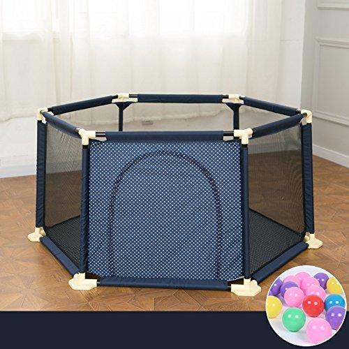 Abnehmbare 6 Panel Baby Kleinkinder Laufgitter Mit Balls Metallgewebe Blau Sicherheit Spiel Center Yard Indoor Outdoor Home Bench Garten (Farbe : Blau)