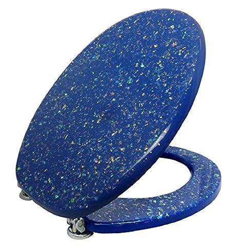 Toilettensitz / Wc Deckel / Toilettendeckel / Klobrille Top Qualität in Blau mit Glitzereffekt