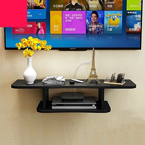 HU Wohnzimmer TV-Set Top-Box Rack Wand-Multi-Color Rack Schlafzimmer Clapboard Wandregal TV-Schrank (Color : Black) -