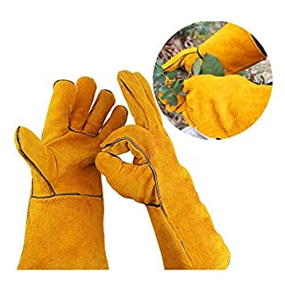 Womdee Rose Pruning Gloves, Thorn Proof Cowhide Leather Gardening GlovesGauntlet Cactus Gloves For Women And Men