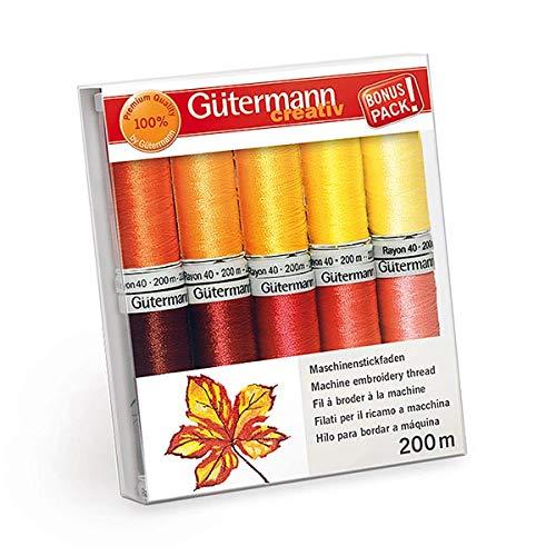 Gütermann Rayon 40 Stickgarn-Set 10 Rollen a 200m Stickgarn -