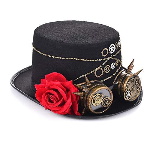 FXXUK Victorian Gothic Zylinder Steampunk Unisex Topper Headwear Zubehör für Halloween Kostüme Stage Show Dance - Gothic Dance Kostüm