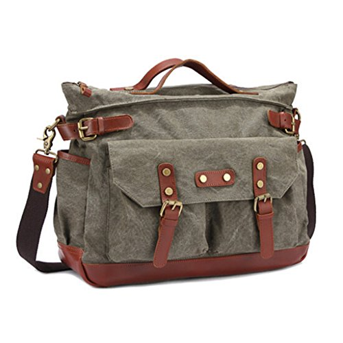 Aidonger Unisex Canvas und Leder Schultertasche Retro Messenger Bag (Armee Gruen) (Bag Canvas Messenger Retro)
