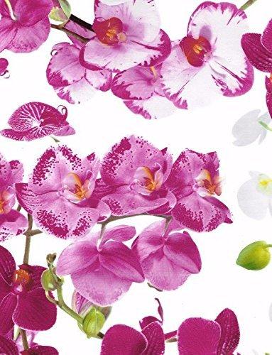 KEVKUS Toile Cirée Nappe Table Au Mètre Orchidées B8990-01 Taille sélectionnable en carré rond oval - Bariolé, 140x200 cm eckig