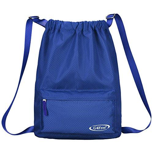 G4Free Water-resistant Drawstring Backpack PE Bag Unisex Sports Bag Gym Bag Gymsack Kids School Rucksack Swimming Bag for Adults and Children