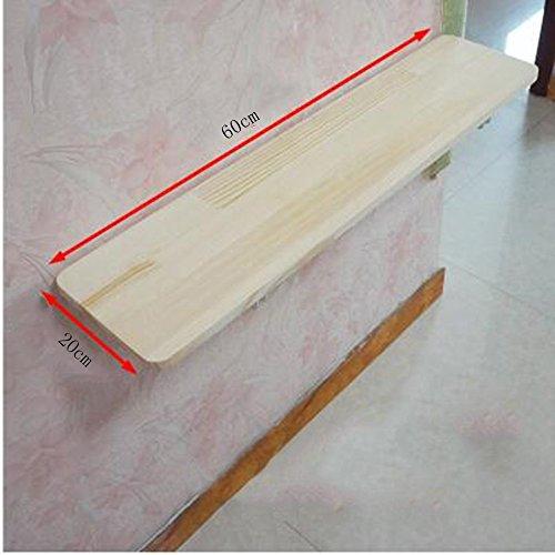 Zhuozi FUFU Wandhalterung Wandbehang Tabelle Kiefer Racks zusammenklappbare Set-Top Box Regal für Küche Badezimmer Schlafzimmer Schlafsaal 3 Größen Drop-Blatt-Tabelle (größe : 60 * 20cm) - 3 Regal-große Tabelle
