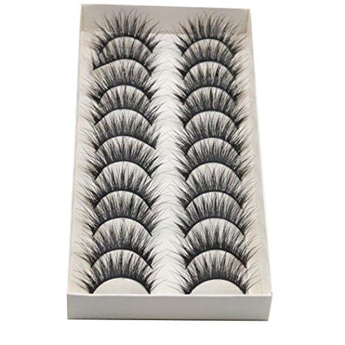 Faux Cils,Xinan 10 paires de mode Naturel fait à la main Long Faux Noir Cils Maquillage (one, Noir)