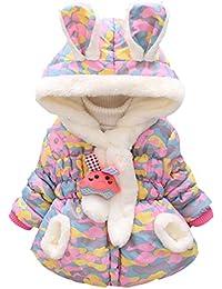 Bebé Niña Niñita Ropa Chaqueta de Algodón Outerwear Engrosado Acolchado Abrigo con Capucha Invierno Kids Coat
