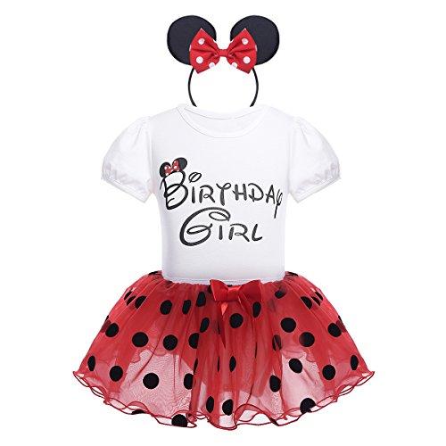 iEFiEL Babykleider Kostüm - Baby Mädchen Kleidung Set Kurzarm-Body Baumwolle Strampler im Kleid Look Rot 80-86(Herstellergröße: 75)