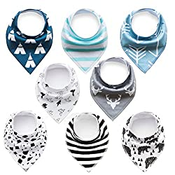 Baby Bandana Dribble Bibs With Snaps 8 Packs Super Absorbent Cotton Feeding Bibs Cute Baby Gift Set For Newborns Boys Infants Toddlers(baby Bib Bluewhite)