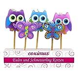 Coximus Kerzen-Set Eulen & Schmetterlinge | 12 Sets mit je 5 Kerzen-Picker | Kuchen-Kerzen für die Geburtstags-Torte | bunte Kuchen-Deko-Kerzen für Muffin & Cupcakes zur Torten-Deko